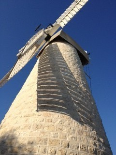 The restored windmill (photo credit: Jessica Steinberg/Times of Israel)