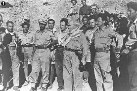 From 1948: David Ben Gurion center, Yigal Alon to his right and Yitzhak Rabin behind